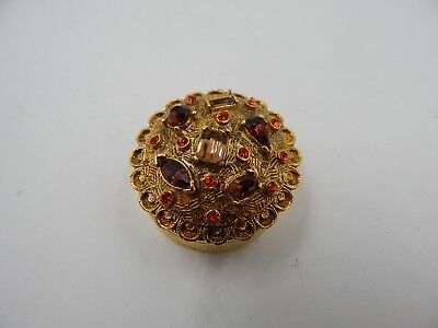 Vintage Brass Rhinestone Covered Trinket Box
