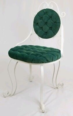 Vintage wrought iron and velvet vanity chair seat Hollywood Regency Mid-Century