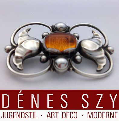 Georg Jensen sterling silver brooch 236 A designed ca.1920 with amber stone