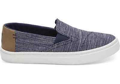 f7dc7a863e8 TOMS Kids 10011484 Navy Stripe Chambray Youth Luca Slip-on Classic Shoes  Size 4