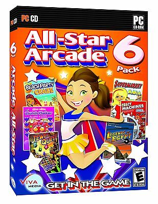All-Star Arcade 6 Pack PC Games Windows 10 8 7 XP Computer jewel quest NEW