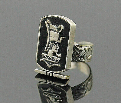Antique Black Enamel Inlay Ancient Egypt Motif Sterling Silver Open Shank Ring 9