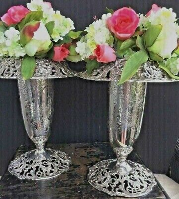 Pair Of Antique Sterling Silver Vases