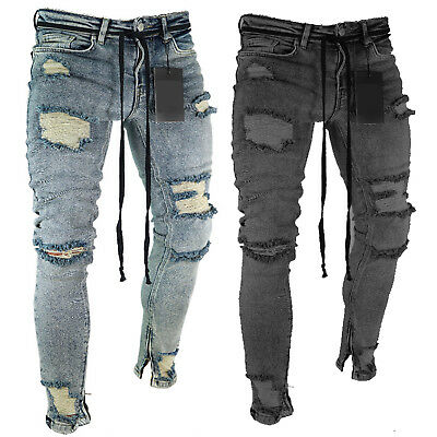 Mens Distressed Ripped Frayed Biker Jeans Pants Stretchy Skinny Denim Trousers