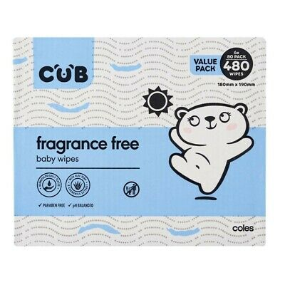 CUB Fragrance Free 480 Baby Wipes 6x80 pack 6 pack