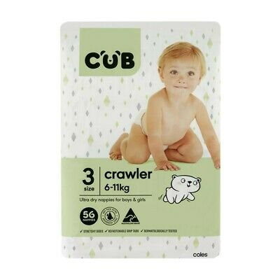 CUB Unisex Ultra Dry Crawler Nappies 6-11 Kg Size 3 56 pack