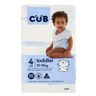 CUB Unisex Ultra Dry Toddler Nappies 10-15 Kg Size 4 50 pack