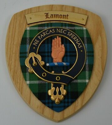 Scottish Carved Wood LAMONT Clan Modern Tartan Plaque Crest Shield Coat Of Arms