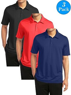 6aef1c42 Men's Short Sleeve Moisture Wicking Polo Shirts Lounge Running Gym 3-PACK  NEW