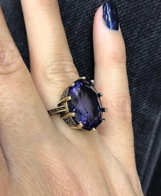 925 Sterling Silver Handmade Authentic Turkish Amethyst Ladies Ring Size 7-9
