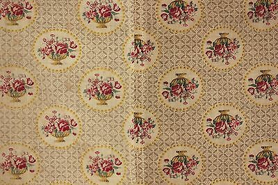 Antique French fabric Floral & basket pattern printed cotton circa 1900 faded