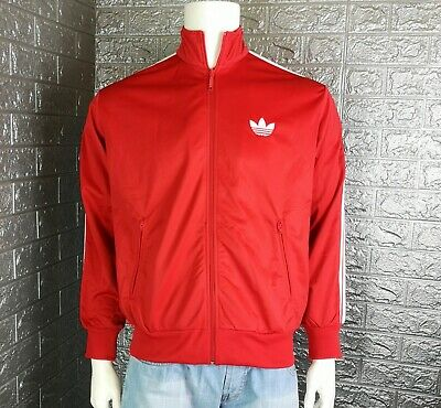 2a2fe432790 Men's Adidas Originals Red Track Jacket Top Size: L Full Zip Old School  Style