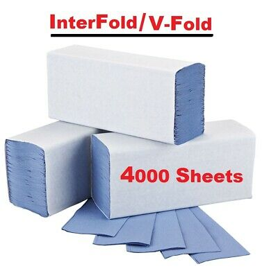 Interfold Paper Hand Towels V Fold Z Fold Blue Hand Towel Soft Dispenser x4000