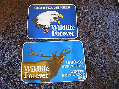 2 Large Official Member Wildlife Forever Stickers  Charter  Supporter CL17-25
