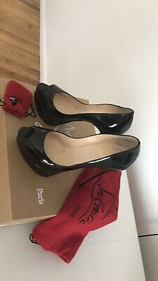 "cb903adec363 Christian Louboutin Lady Peep 6"" Patent Leather Pump 37 In Box. AUTHENTIC"