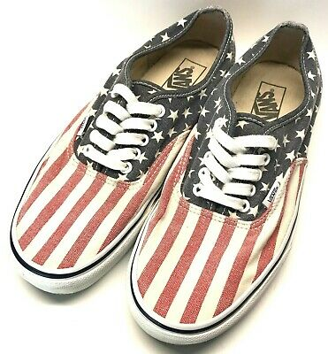 65aec76e64 VANS VAN DOREN USA Flag Stars   Stripes Canvas Skate Shoes Men s 10 ...