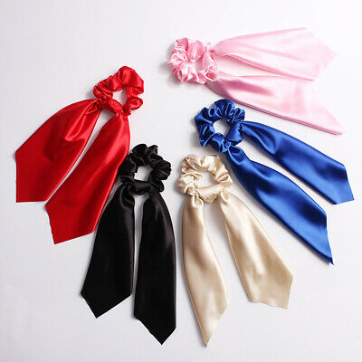 Solid Color Streamers Elastic Scrunchies Hair Scarf Bow Hair Rubber Rope Ties LK