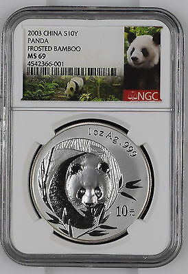 2003 China Panda NGC MS69 S10Y 1 oz .999 Fine Silver Chinese Coin Frosted Bamboo