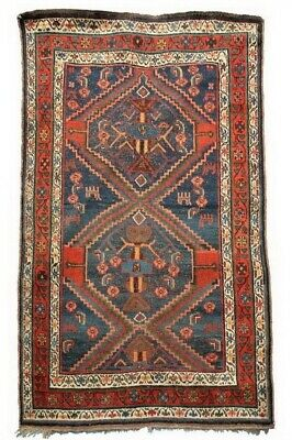 """Antique Early 20th Century Hand Knotted South Persia Rug 3'10"""" X 6'3"""" -Free Ship"""