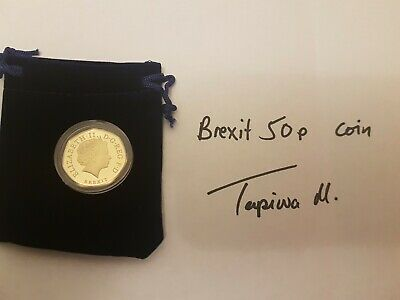 Brexit 50p coin Gold *Mint* with a blue pouch