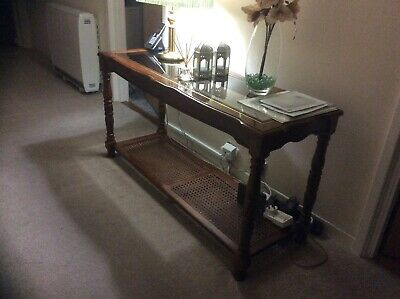 Glass Mahogany Hall Console Table Great Detail Good Average Condition