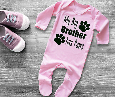 My big brother has Paws light pink baby grow bodysuit rompersuit sleepsuit