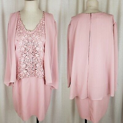 Ursula of Switzerland Formal Pink Chiffon Lace Dress Built in Jacket Womens 16P