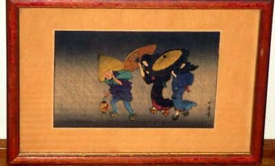 "Kitagawa Utamaro Vintage Miniature Japanese Print ""Wind + Rain At Night"""