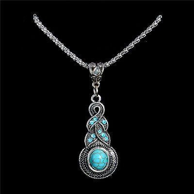 Tibetan Silver Turquoise Necklace Knot Water Drop Pendant Jewellery Gift Bag