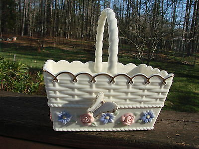 Lenox Porcelain Handled Basket with Butterfly and Purple Pink Pastel Flowers