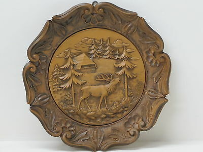 Black Forest Cabin & Moose Molded Wood/Resin Wall Plaque West German 3D Folk Art