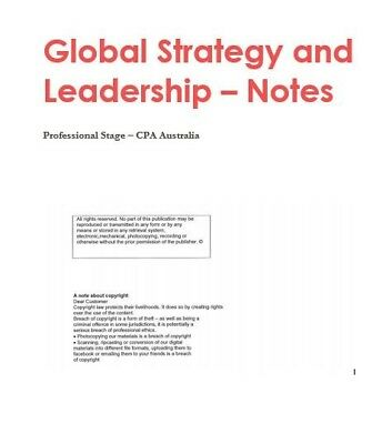CPA (GSL) 2019 Global Strategy & Leadership HD Notes