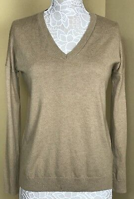 28a33d98e1d31 NEW WOMENS GAP Brown Ivory Striped Wool Blend V Neck Sweater Size S ...