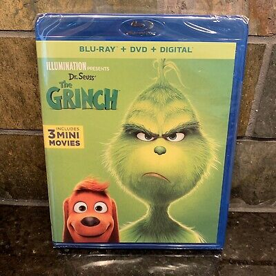 Dr Seuss THE GRINCH Blu-ray + DVD + Digital + 3 Mini Movies New With Slipcover!