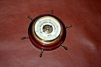 "Vintage West German Nautical Decor ""Stellar"" Barometer in 5"" Wooden Ship's Wheel"