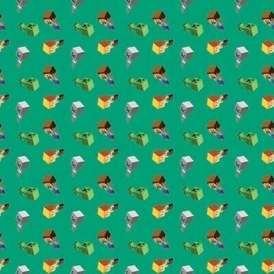 Minecraft Mobs on Green Video Game Quilting Fabric FQ or Metre *New*