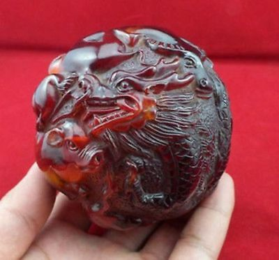 Chinese rare amber Carving Dragon Chinese 12 Zodiac statue dragon Ball