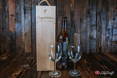 Wine Box, Personalised wooden wine box, laser engraved custom wine box, champagn