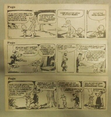 "(255) ""Pogo"" Dailies by Walt Kelly from 1974 Size: 3 x 7 inches"