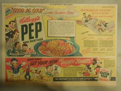"Kellogg's Cereal Ad: Pep Flakes Walt Disney ""Joinies"" Premiums ! 1930's-1940's"
