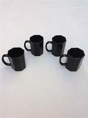 Set of 4 Arcoroc China Octime-Black Glass Octagon Mugs Cups France