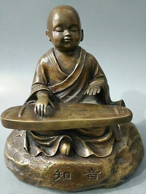 9'' bronze copper carved artistic conception a boy child monk play the zither