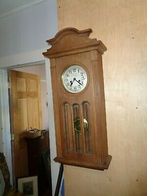 Antique-Oak-German-Box Regulator Clock-Ca.1910-To Restore-#T262