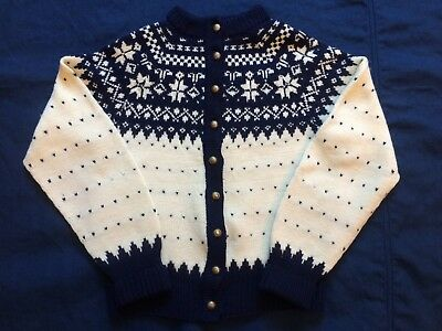 Vintage Child's Danish Pure Wool Navy Blue & Cream Button Sweater W/Snowflakes