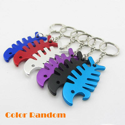 Aluminum Alloy Fish Bone Keychain Beer Bottle Opener Key Chain Ring Bar Tool YZ