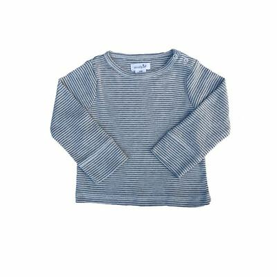 Mud Pie Baby Boy Gray Stripe Long Sleeve Shirt Size 6-9  Months NEW