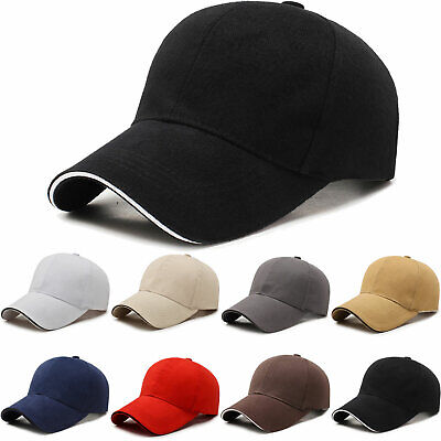 cbf27227a02 Mens Plain Baseball Caps Adjustable Blank Curved Visor Outdoor Sports Peak  Hats