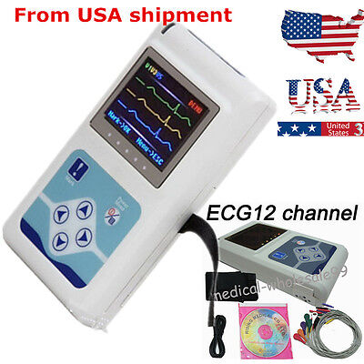 24 Hours 12-channel Holter Recorder Monitor Electrocardiogram scan USA Ship A+