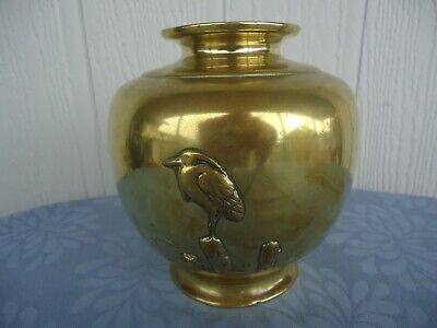 vintage antique solid  brass heavy vase  Japan  crane bird relief 1.5kg art deco