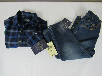 Lucky Brand Baby Outfit Blue Plaid Long Sleeve Shirt Denim Blue Jeans Sz 24M NWT